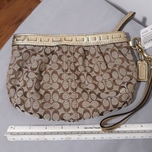 Brown Gold Wristlet - Coach